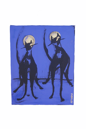 """""""The Cool Cats, Duo at Midnight"""" - Acrylic on Canvas (8x10)"""