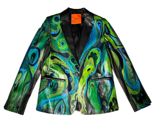 Psychedelic Greens Leather Blazer Jacket