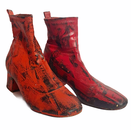 Red/Orange All Over Painted Leather Boots