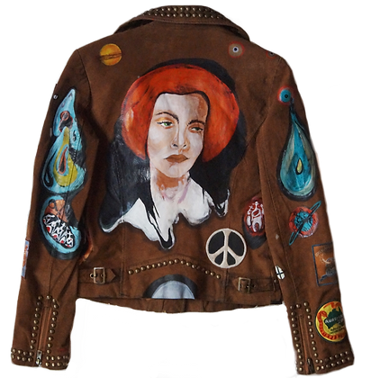 Painted Patched Vintage Leather Monte Carlo Jacket