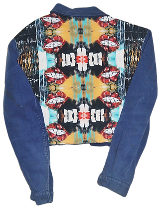 Astral Projection Patched Cropped Vintage Barn Jacket