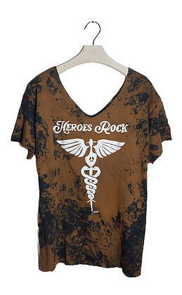L - Heroes Rock Bleached & Cut Wide T-Shirt