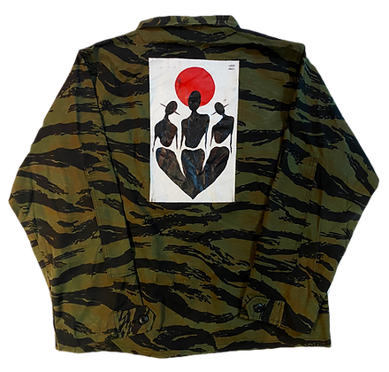 Cool People Card Painted Vintage Zebra Camo Jacket