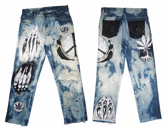 S/M - The Cool People 11.2020 Painted Denim Boyfriend Jeans