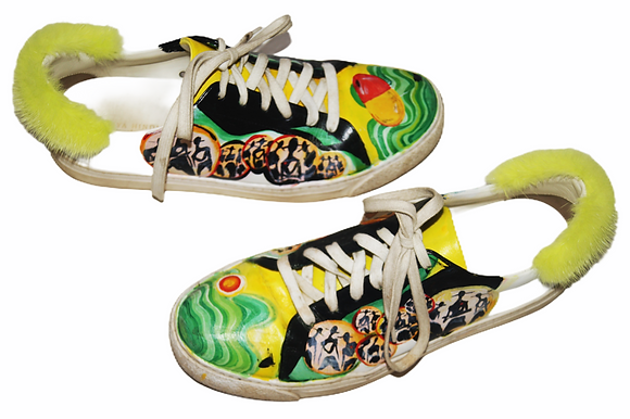 Lemon Lime Painted Leather Sneakers
