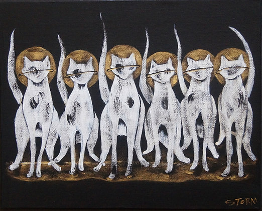 """Six Cool Cats - Painting on Canvas Panel (8x10"""")"""