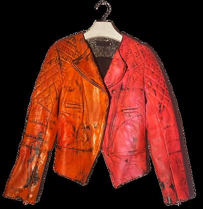 XS - Painted Acrylic Split Leather Jacket