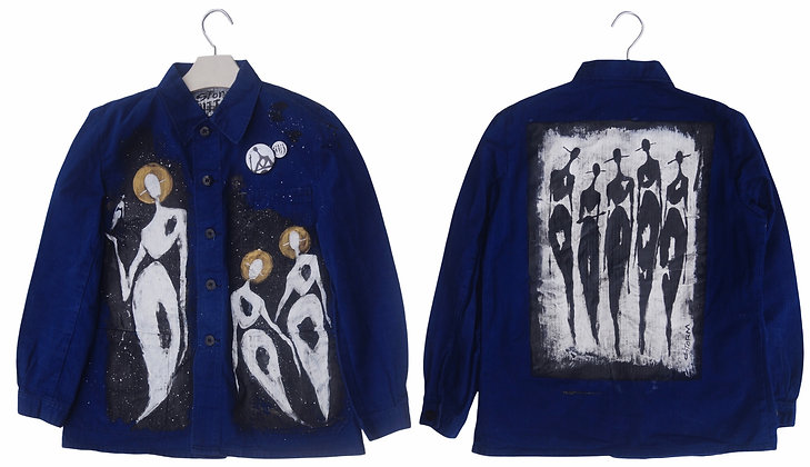 S - The Cool People (Galaxy) Painted Smock Denim Jacket