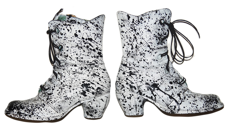 Splatter Painted White Out Leather Boots