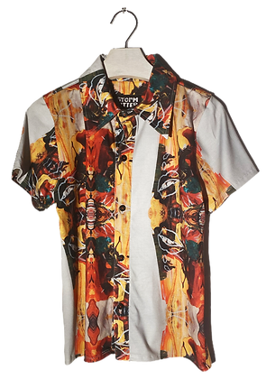 S - White Light Button-Up Jersey Top