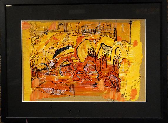 """""""Tiger Garden"""" Framed Painting"""