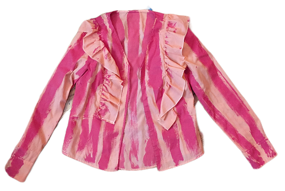 S - Pink/Orange Candy Striper Open Blouse