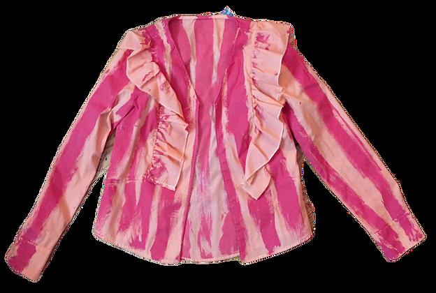 S - Pink/Orange Candy Striper Open Blouse