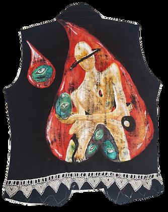"""""""Egg Of Sight"""" Painted Jean Embellished Vest"""