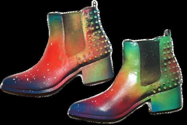 Rasta Rainbow Painted Leather Boots