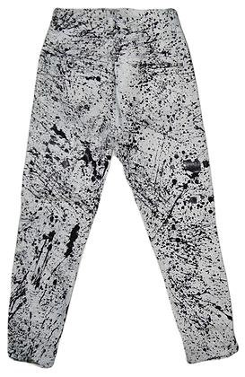White/Black Splatter Painted Jeans