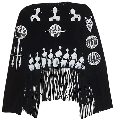 The Cool People Painted Patched Leather Fringe Jacket (Custom)