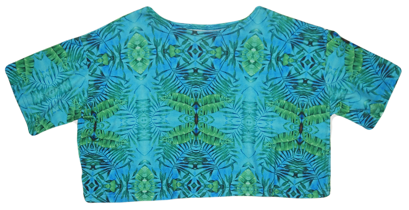 S/M - Tropical Trippy Crop T-Shirt
