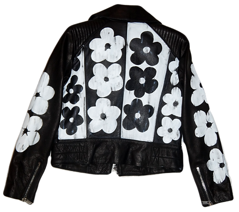 Warhol in Black & White Painted Leather Jacket