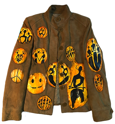 Golden Hour Cool People Painted Suede Jacket