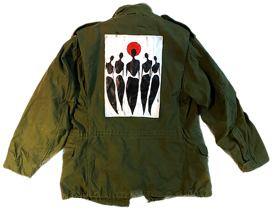 Cool People Card Painted Vintage Heavy Military Jacket