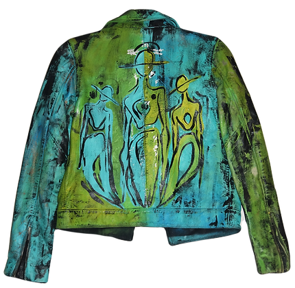 Blue-Lime Painted Leather Jacket