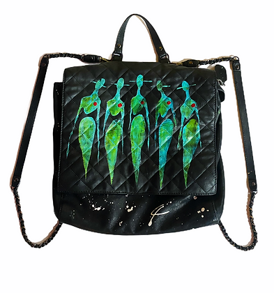 Neon Nights Painted Leather Backpack Purse