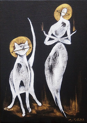 """The Cool Duo - Cool People x Cat - Painting on Canvas Panel (5x7"""")"""