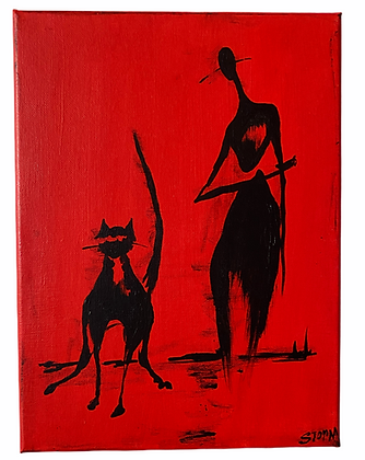 """The Cool Person and The Cool Cat - Familiars"" Canvas (9x12)"