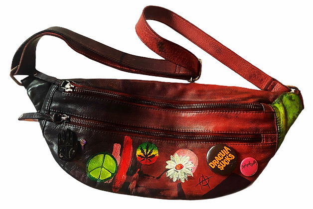 Ombre Painted Leather Fanny Pack