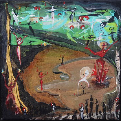 """Slight Of Hand"" - Acrylic on Canvas (8x8"")"