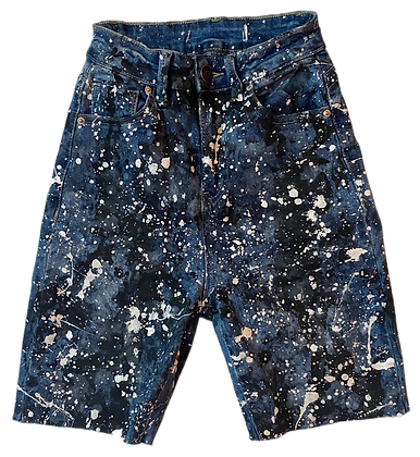 XS/24 - Spattered Super Stretch High Waisted Cut Off Jean Shorts
