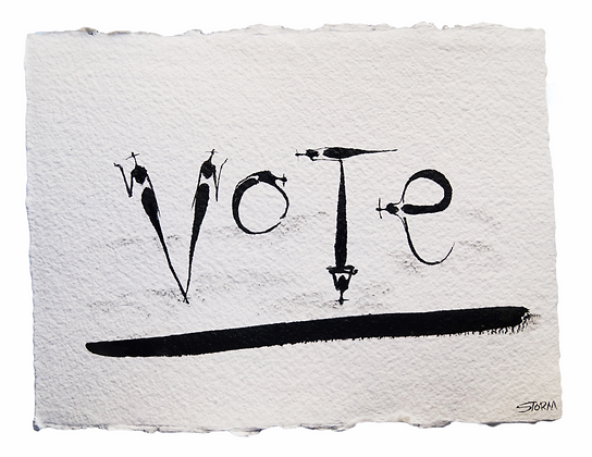 VOTE - The Cool People - Ink on Handmade Paper (9x12)
