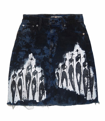 "S - ""Cool People Within"" Painted Denim Skirt"