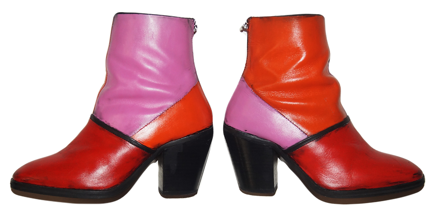 Mod Color Blocked Leather Boots