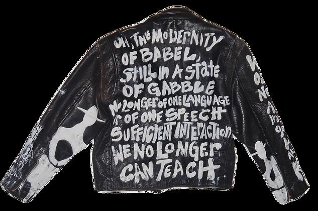 Modernity Of Babel Painted Vintage Leather Jacket