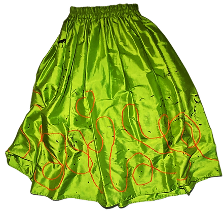 XS - Embroidered + Painted Shiny High Waisted Skirt