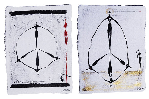 Peace Of Mind, I & II - The Cool People - Ink/paint on cotton paper (9x12)