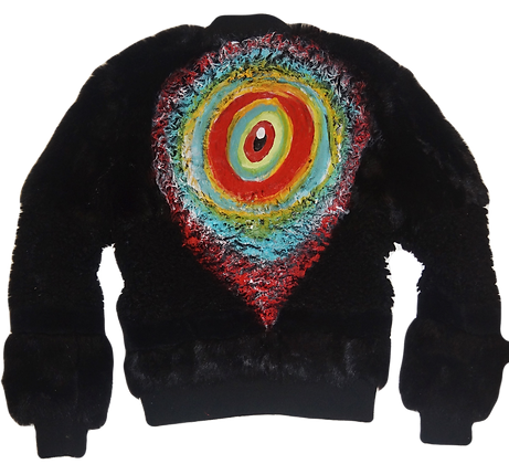 Painted Technicolor Eye Faux Fur Zipper Jacket