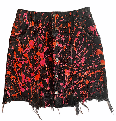 S - Bright Pink Splatter Jean Skirt