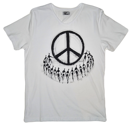The Cool People (Peace House) Painted Cotton T-Shirt