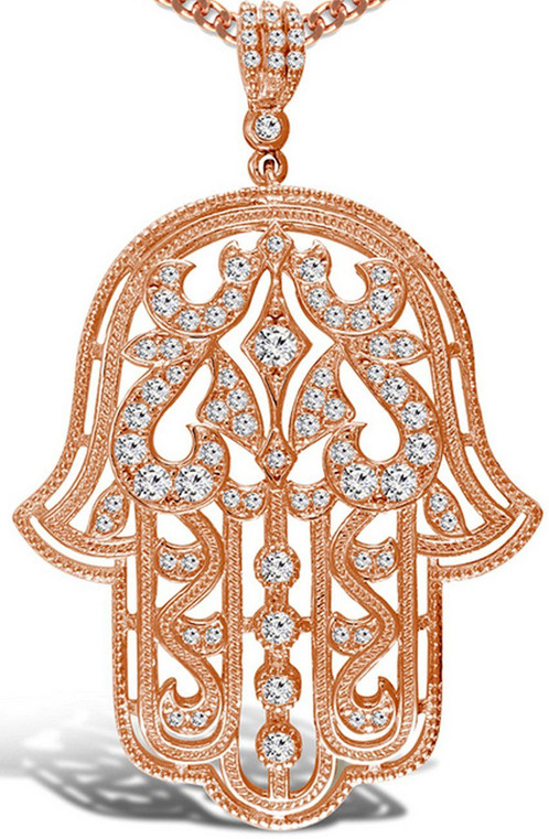 Limited edition rose gold plated hamsa hand pendant with chain this is an amazing hamsa hand pendant suspended on a rose gold plated sterling silver chain the pendant has cubic zirconia stones in it making it sparkle aloadofball Images
