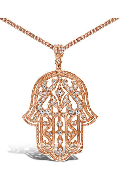 Limited edition rose gold plated hamsa hand pendant with chain limited edition rose gold plated hamsa hand pendant with chain mozeypictures Image collections