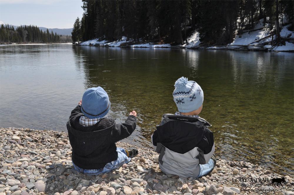 Larsen Boys Throwing Rocks at the Snake River Raft Launch - April 2012