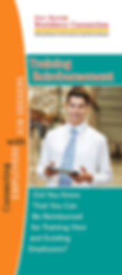 New Mexico Workforce Connection Training Reimbursement brochure cover. Did you know that you can be reimbursed for training new and existing employees? Photo of young man wearing white long sleeve button-up shirt, tie, holding computer tablet in warehouse.