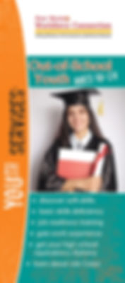 New Mexico Workforce Connection Out-of-School Youth brochure cover. Out-of-school youth ages 16-24. Discover soft skills, basic skills deficiency, job readiness training, gain work experience, get your high school equivalency diploma, learn about Job Corps. Photo of young woman wearing black graduation cap and gown arms crossed in front of her hugging documents and holding rolled diploma in right hand.