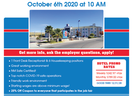 Virtual Job Fair with Motel 6 Las Cruces Hosted by New Mexico Workforce Connection SW