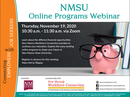 NMSU Online Program Webinar with New Mexico Workforce Connection - November 19, 2020
