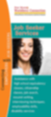 New Mexico Workforce Connection Job Seeker Services brochure. Assistance with high school equivalency classes, citizenship classes, job search, résumé writing, interviewing techniques, employability skills, disability services. Photo of woman holding a mug of coffee and smiling as she looks at the newspaper.