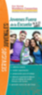New Mexico Workforce Connection In-School Youth brochure cover, Spanish version. In-school youth ages 14-21. Get tutoring, receive training, learn job readiness, gain work experience with a part-time or summer job, learn about Job Corps. Photo of 5 high school teens huddled together smiling.